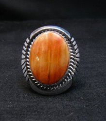 Navajo Orange Spiny Oyster Silver Ring, Alfred Martinez sz6-3/4