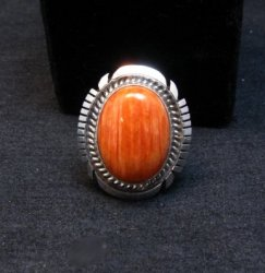 Native American Navajo Spiny Oyster Silver Ring, Alfred Martinez sz7