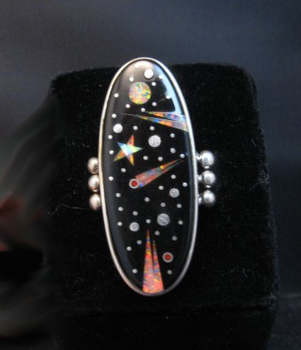 Image 0 of Long Navajo Inlaid Starry Night Sky Ring, Matthew Jack, sz10-1/4