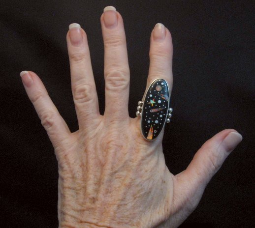 Image 2 of Long Navajo Inlaid Starry Night Sky Ring, Matthew Jack, sz10-1/4
