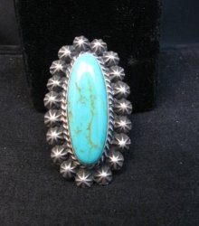 Fancy Old Style Navajo Turquoise Silver Ring Robert Shakey Sz7-1/2