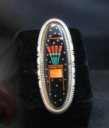Navajo Matthew Jack Micro Inlay Yei Bei Chai Night Sky Ring sz7-1/4