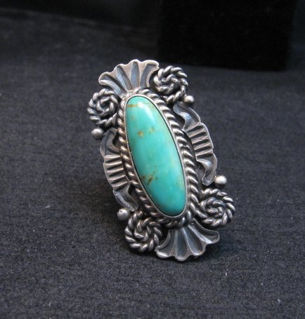 Image 0 of Fancy Old Style Navajo Turquoise Silver Ring Robert Shakey sz6-1/2