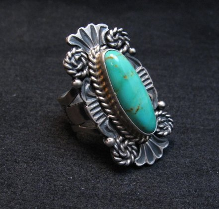 Image 1 of Fancy Old Style Navajo Turquoise Silver Ring Robert Shakey sz6-1/2