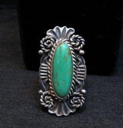 Native American Navajo Turquoise Silver Ring Robert Shakey sz7