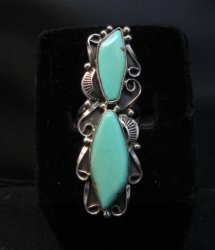 Double Turquoise Native American Navajo Sterling Ring Size 7 Lucille Calladitto