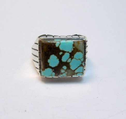 Image 0 of Navajo Native American Number 8 Turquoise Ring Sz9-1/2 Ray Jack