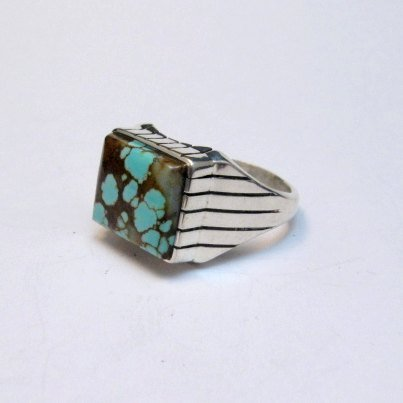 Image 1 of Navajo Native American Number 8 Turquoise Ring Sz9-1/2 Ray Jack