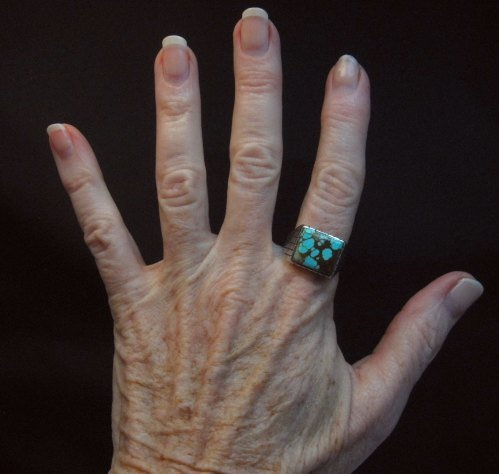 Image 2 of Navajo Native American Number 8 Turquoise Ring Sz9-1/2 Ray Jack