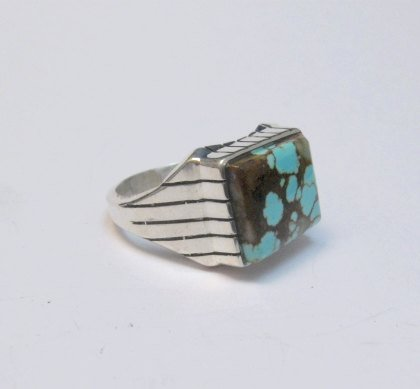 Image 3 of Navajo Native American Number 8 Turquoise Ring Sz9-1/2 Ray Jack