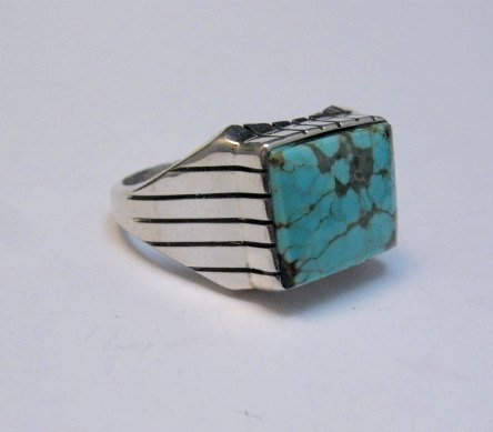 Image 0 of Navajo Native American Number 8 Turquoise Ring Sz11 Ray Jack