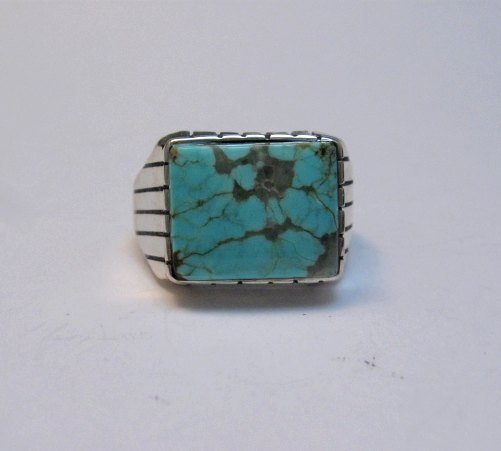 Image 2 of Navajo Native American Number 8 Turquoise Ring Sz11 Ray Jack