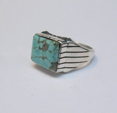 Image 3 of Navajo Native American Number 8 Turquoise Ring Sz11 Ray Jack