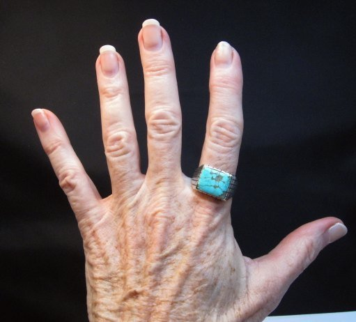Image 1 of Navajo Native American Number 8 Turquoise Ring Sz11 Ray Jack