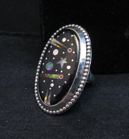 Image 0 of Navajo Micro Inlaid Starry Night Sky Ring, Matthew Jack, sz6