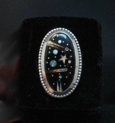 Image 1 of Navajo Micro Inlaid Starry Night Sky Ring, Matthew Jack, sz6