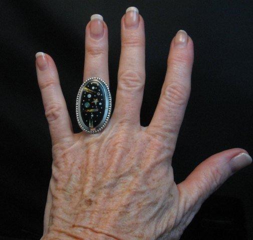 Image 2 of Navajo Micro Inlaid Starry Night Sky Ring, Matthew Jack, sz6