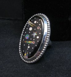 Navajo Micro Inlaid Starry Night Sky Ring, Matthew Jack, sz6