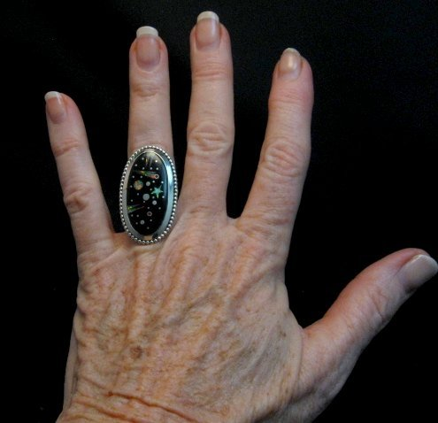 Image 1 of Navajo Matthew Jack Micro Inlay Starry Night Sky Ring sz6