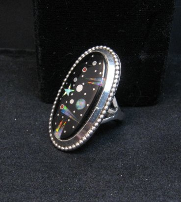 Image 2 of Navajo Matthew Jack Micro Inlay Starry Night Sky Ring sz6