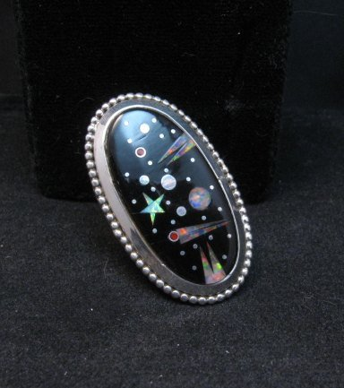 Image 3 of Navajo Matthew Jack Micro Inlay Starry Night Sky Ring sz6