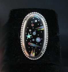 Navajo Matthew Jack Micro Inlay Starry Night Sky Ring sz6