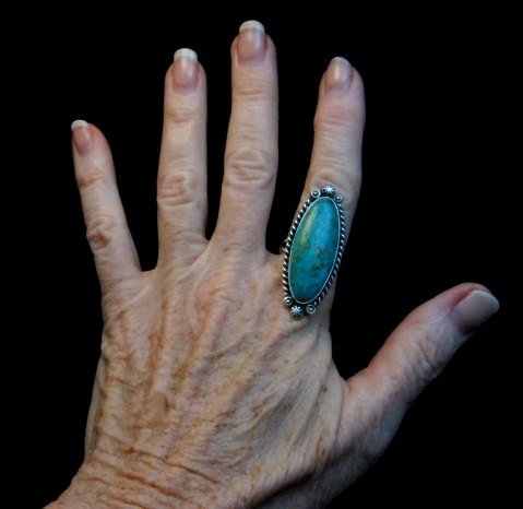 Image 3 of Native American Navajo Turquoise Silver Ring Robert Shakey sz9