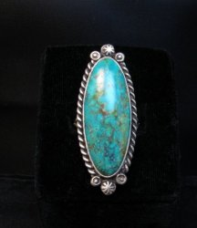 Native American Navajo Turquoise Silver Ring Robert Shakey sz9