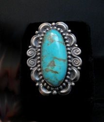 Fancy Navajo Turquoise Sterling Silver Ring Juanita Long sz6-3/4