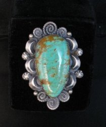 Big Navajo Native American Turquoise Silver Ring Juanita Long sz7-3/4