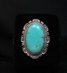 Native American Navajo Turquoise Silver Ring, Augestine Largo Sz7