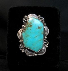 Native American Navajo Turquoise Silver Ring Lucille Calladitto sz8