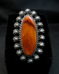 Old Style Navajo Spiny Oyster Silver Ring Robert Shakey Sz6-3/4