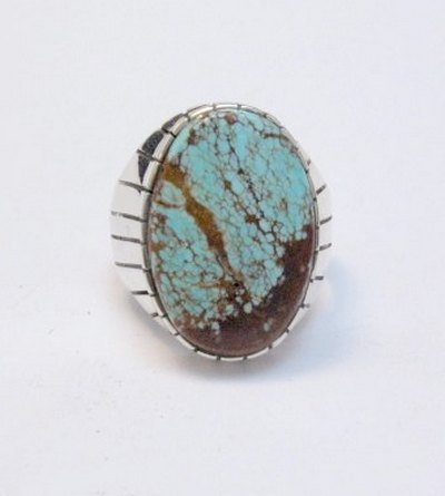 Image 0 of Ray Jack Navajo Native American Number 8 Turquoise Ring Sz12