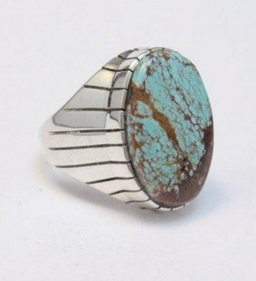 Image 1 of Ray Jack Navajo Native American Number 8 Turquoise Ring Sz12