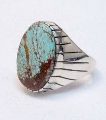 Image 2 of Ray Jack Navajo Native American Number 8 Turquoise Ring Sz12