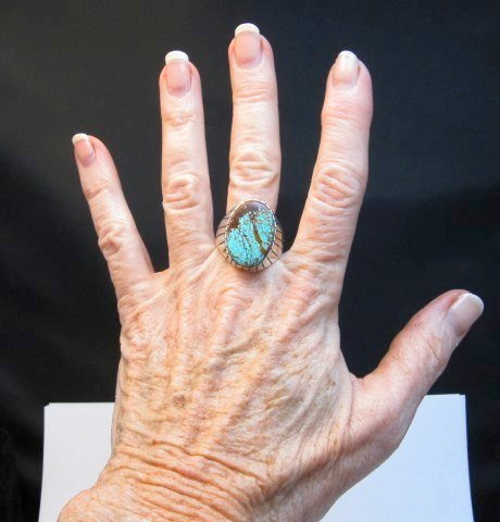 Image 4 of Ray Jack Navajo Native American Number 8 Turquoise Ring Sz12