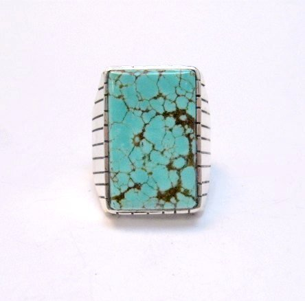 Image 0 of Large Navajo Indian Ray Jack Number 8 Turquoise Ring Sz10-1/2