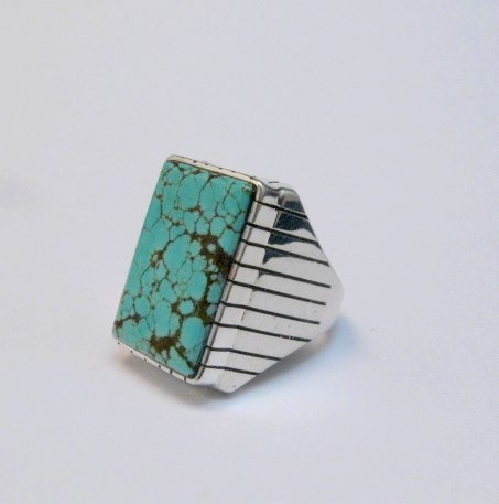 Image 1 of Large Navajo Indian Ray Jack Number 8 Turquoise Ring Sz10-1/2
