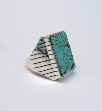 Image 2 of Large Navajo Indian Ray Jack Number 8 Turquoise Ring Sz10-1/2