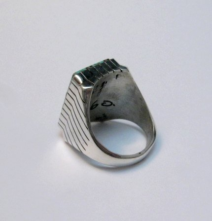 Image 3 of Large Navajo Indian Ray Jack Number 8 Turquoise Ring Sz10-1/2