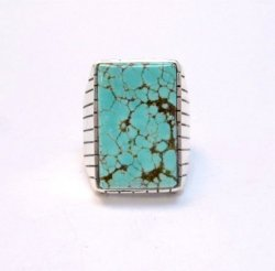 Large Navajo Indian Ray Jack Number 8 Turquoise Ring Sz10-1/2