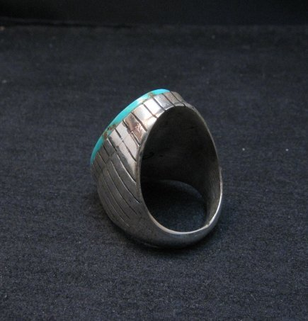 Image 3 of Big Navajo Native American Turquoise Silver Ring, Ray Jack, Sz12-3/4