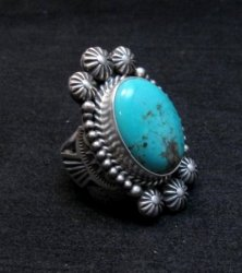 Navajo Michael and Rose Calladitto Kingman Turquoise Silver Ring sz7-1/2