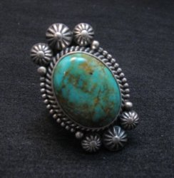 Navajo Michael and Rose Calladitto Kingman Turquoise Silver Ring sz8