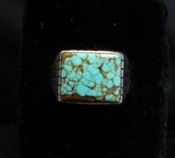 Navajo Native American Number 8 Turquoise Ring Ray Jack sz12-3/4