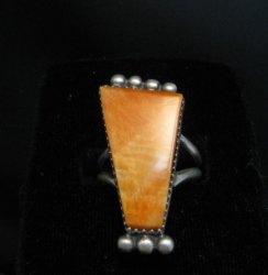 Navajo Native American Spiny Oyster Ring Selena Warner sz8-1/2
