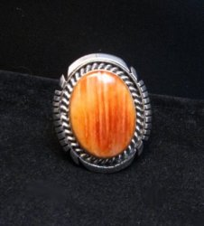 Native American Navajo Spiny Oyster S/S Ring, Alfred Martinez sz7-1/2
