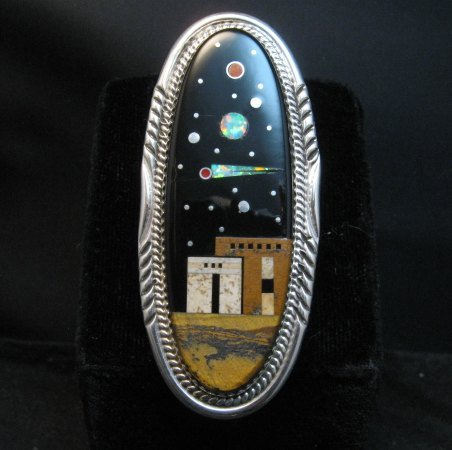 Image 0 of Long Navajo Micro Inlay Pueblo Night Sky Ring, Matthew Jack, sz7-1/4