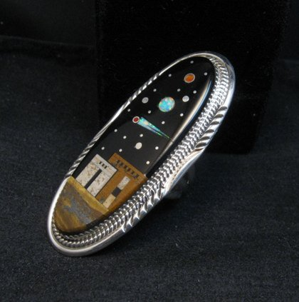 Image 1 of Long Navajo Micro Inlay Pueblo Night Sky Ring, Matthew Jack, sz7-1/4
